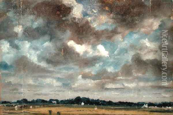 Extensive Landscape with Grey Clouds, c.1821 Oil Painting - John Constable