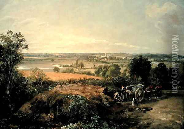 Stour Valley and Dedham Church, c.1815 Oil Painting - John Constable