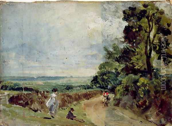 A Country road with trees and figures Oil Painting - John Constable