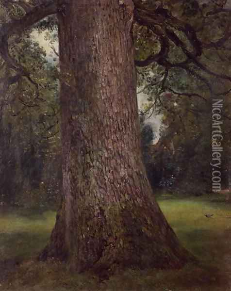 Study of the Trunk of an Elm Tree, c.1821 Oil Painting - John Constable