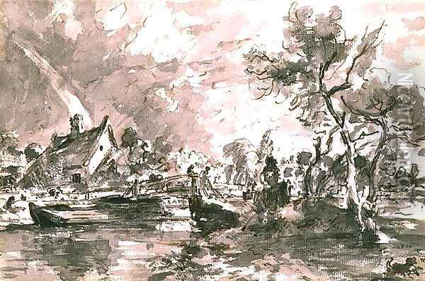 Flatford Old Mill Cottage on the Stour, pen and wash Oil Painting - John Constable