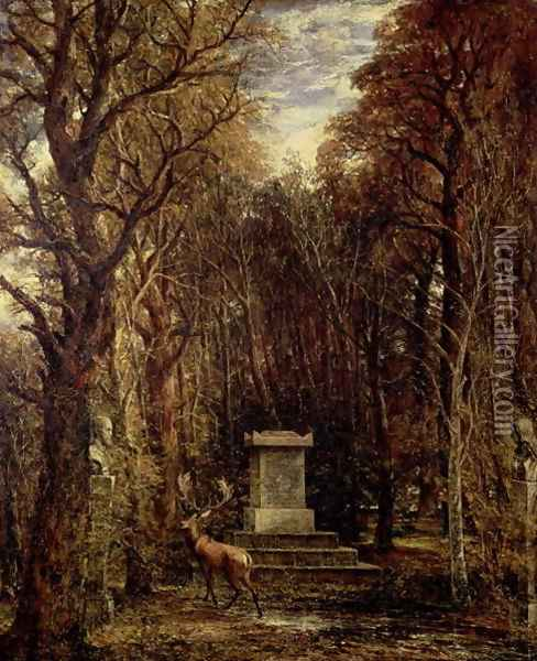 The Cenotaph to Reynold's Memory, Coleorton, c.1833 Oil Painting - John Constable