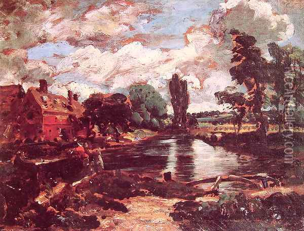 Flatford Mill from a Lock on the Stour c. 1811 Oil Painting - John Constable