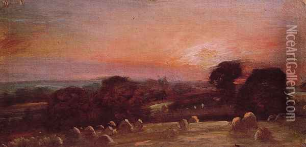 A Hayfield near East Bergholt at Sunset Oil Painting - John Constable