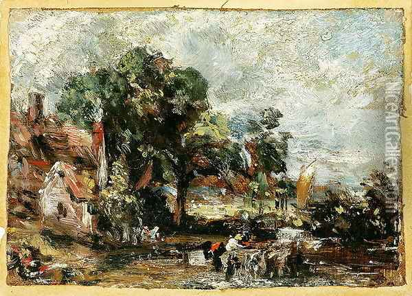 Sketch for The Haywain c.1820 Oil Painting - John Constable