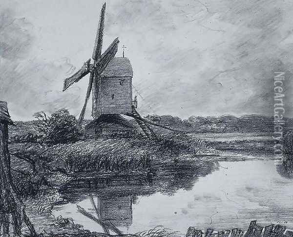 A mill on the banks of the River Stour Oil Painting - John Constable