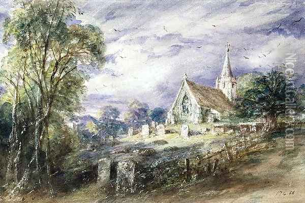 Stoke Poges Church Oil Painting - John Constable