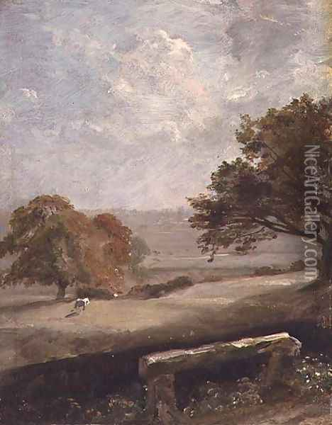 A Park Glade View of Dedham Church Oil Painting - John Constable