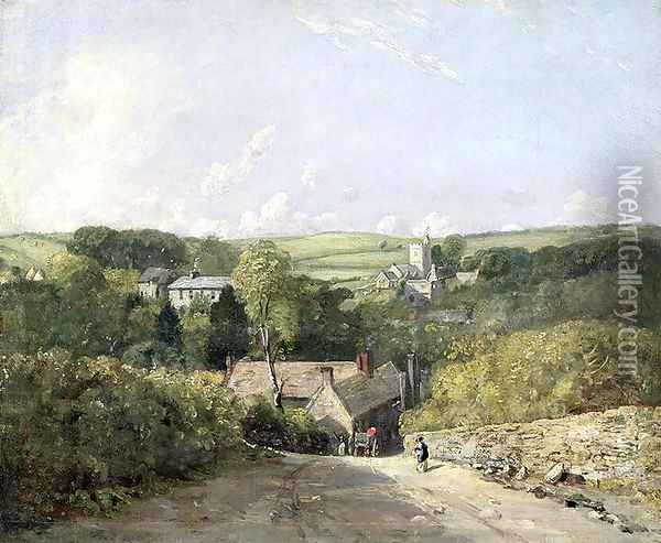 A View of Osmington Village with the Church and Vicarage, 1816 Oil Painting - John Constable