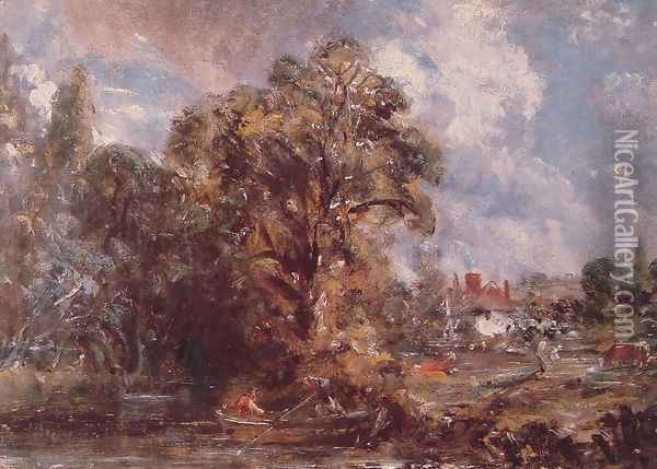 Scene On A River Oil Painting - John Constable