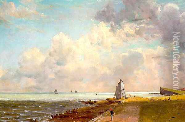 Harwich, The Low Lighthouse and Beacon Hill, c.1820 Oil Painting - John Constable