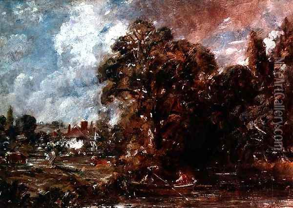 A river scene with a farmhouse near the water's edge, c.1830-36 Oil Painting - John Constable