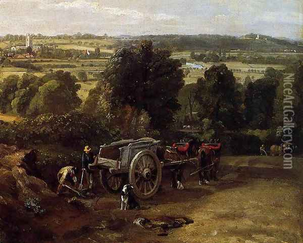The Stour-Valley with the Church of Dedham (detail) 1814 Oil Painting - John Constable