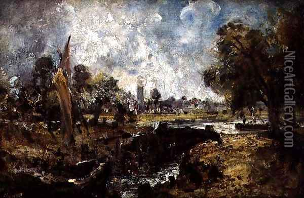 Dedham Lock, c.1820 Oil Painting - John Constable
