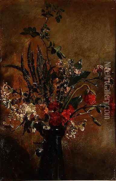 Study of Flowers in a Hyacinth Glass, 1814 Oil Painting - John Constable