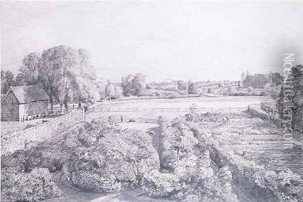 View of East Bergholt over the kitchen garden of Golding, Constable's house Oil Painting - John Constable