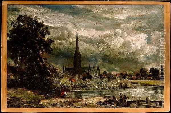 Salisbury Cathedral from the long bridge with an angler in the foreground Oil Painting - John Constable
