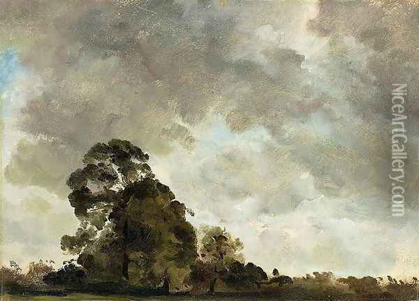 Landscape at Hampstead, Tree and Storm Clouds, c.1821 Oil Painting - John Constable