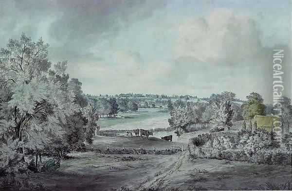 The Valley of the Stour, with Langham church in the distance Oil Painting - John Constable
