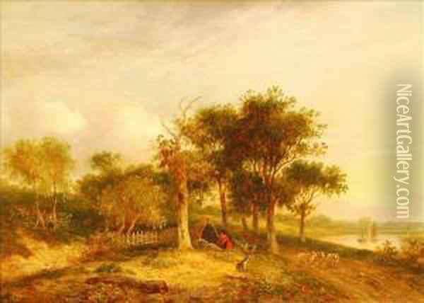 Travellersresting By A Path Oil Painting - Samuel David Colkett
