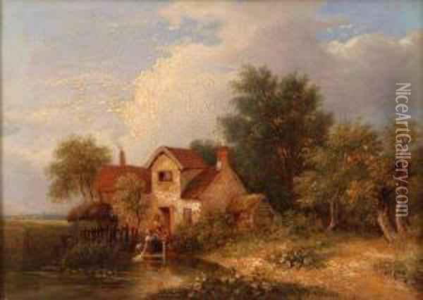 A View Of Lakenham With Washerwoman Outside A Cottage Oil Painting - Samuel David Colkett