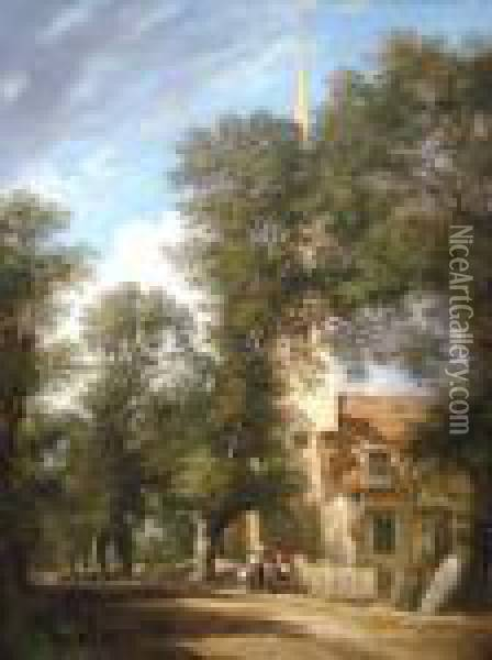 Figures By A Church With Woodland Oil Painting - Samuel David Colkett