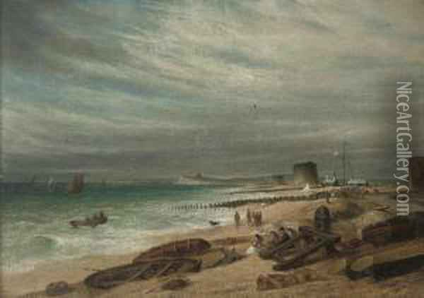 Figures In An Onshore Breeze, On  The Beach At Walmer (illustrated); And Salvaging The Wreck Oil Painting - Samuel David Colkett