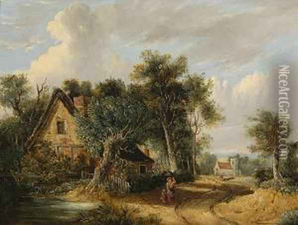 Figures Before A Woodland Cottage, A Church Beyond. Oil Painting - Samuel David Colkett