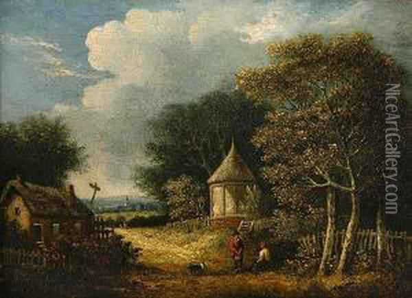 Wooded Landscape With Figures And A Dog Before A Cottage Oil Painting - Samuel David Colkett