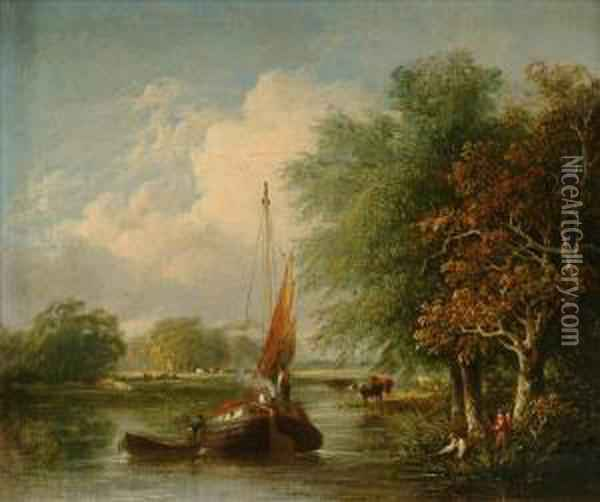 Figures On Asailing Barge In A River Landscape Oil Painting - Samuel David Colkett