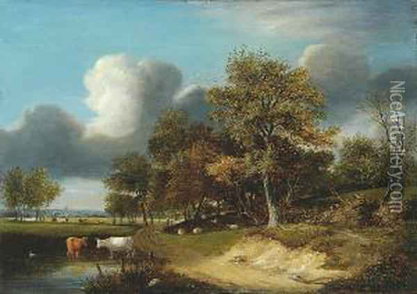 Cattle Watering By A Woodland Path Oil Painting - Samuel David Colkett