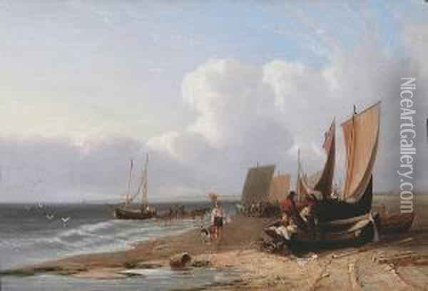 South View Of Yarmouth Beach, Norfolk, No.1 Oil Painting - Samuel David Colkett