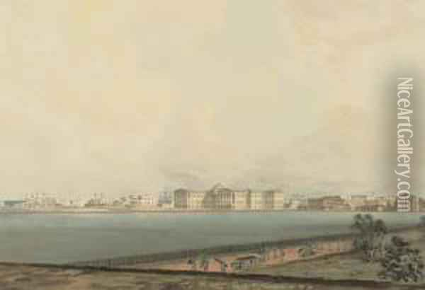 The Esplanade, Calcutta From The Chowringhee Road, With The Hooghlyin The Distance Oil Painting - Samuel David Colkett