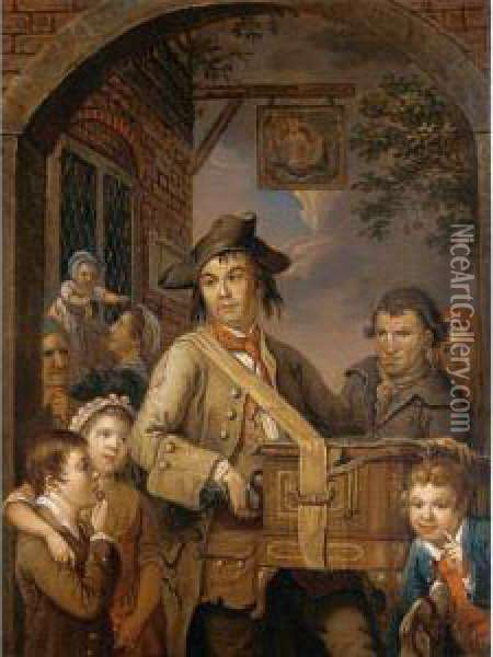 The Hurdy Gurdy Player Oil Painting - John Collet