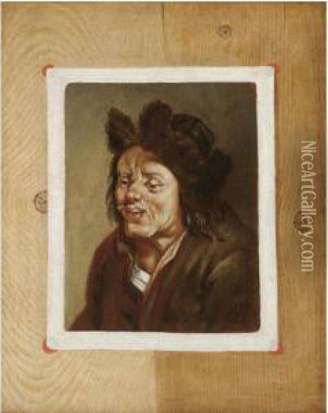 A Trompe L'oeil Of A Painting Of A Peasant Fixed To A Wooden Board Oil Painting - Edwart Collier