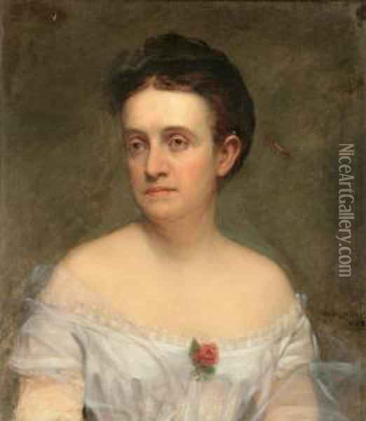 Portrait Of A Lady In White Oil Painting - William Collingwood Smith