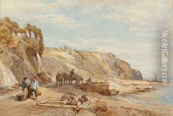Fisherfolk On The Beach Oil Painting - William Collingwood Smith