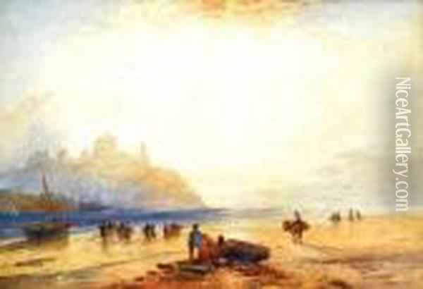 Figures By A Shore Oil Painting - William Collingwood Smith
