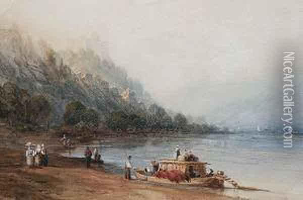 Figures And Boats In An Italian Bay Oil Painting - William Collingwood Smith