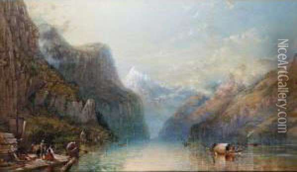 Bay Of Uri, Lake Lucerne From The Left Bank Oil Painting - William Collingwood Smith