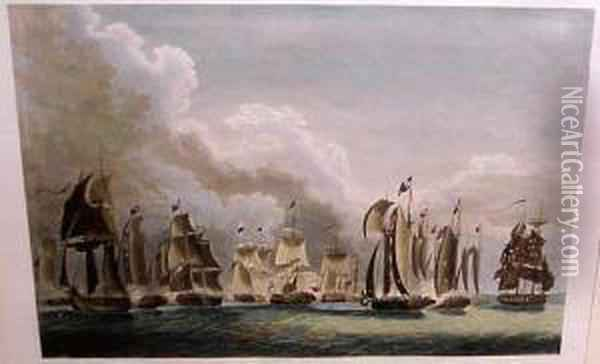 The Battle On Lake Erie Oil Painting - William Collingwood Smith