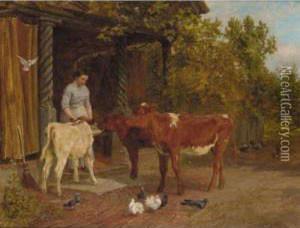 Feeding Time Oil Painting - Charles Collins
