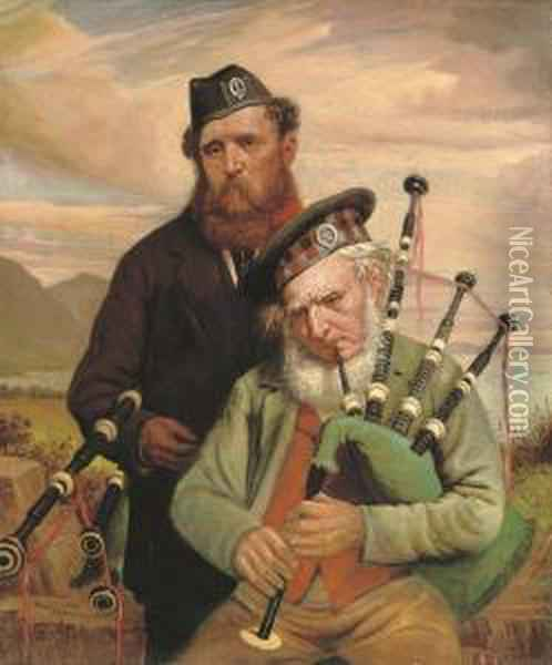 Two Pipers Oil Painting - Hugh Collins