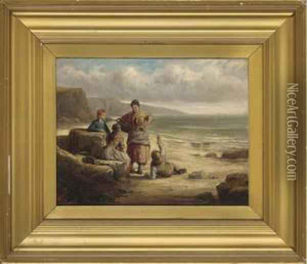 Waiting For The Catch Oil Painting - William Collins