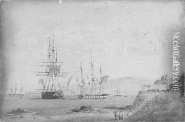A British Frigate Getting Under  Way Off A Chilean Fortress, A British Two-decker And A French Frigate  Anchored Nearby Oil Painting - Condy, Nicholas Matthews