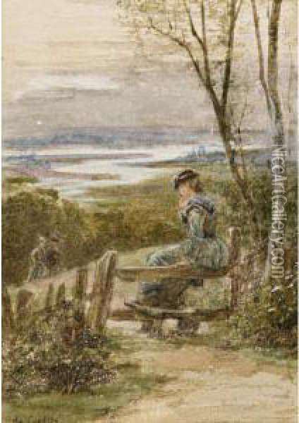 Waiting On The Stile And Saved From Drowning Oil Painting - Ebenezer Wake Cook