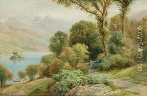 Wordsworth Walk Rydal Water Oil Painting - Ebenezer Wake Cook