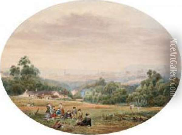 Picnic With City Panorama Oil Painting - Ebenezer Wake Cook