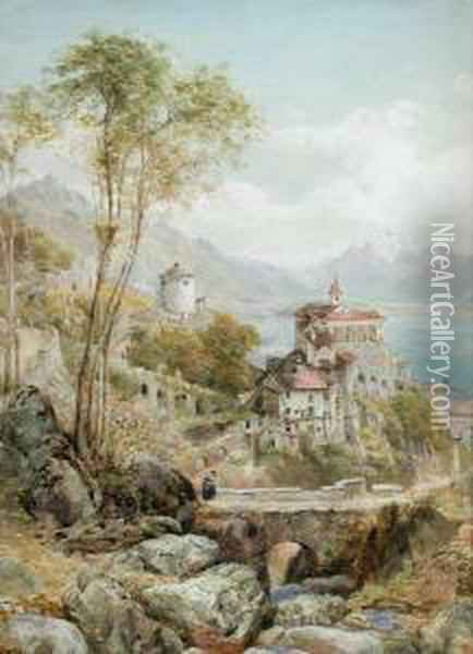 View Of An Italian Castle By A Lake Oil Painting - Ebenezer Wake Cook