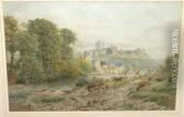 View Of Richmond Castle With Cattle Watering Beside The River Swale Oil Painting - Ebenezer Wake Cook